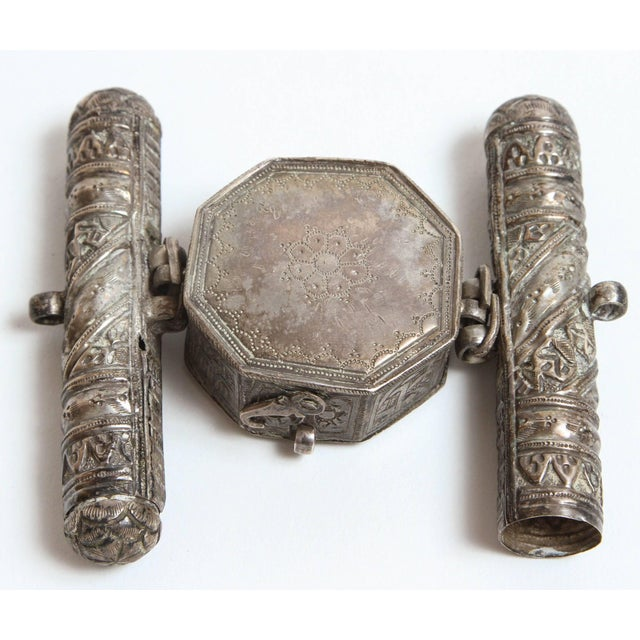 Early 19th Century 19th Century Silver Repousse Islamic Talisman Miniature Holder For Sale - Image 5 of 6