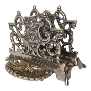 Silver Plate Letter Holder with Gryphons For Sale