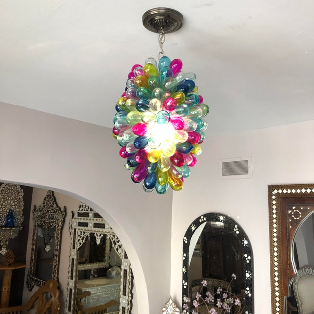 Metal Recycled Hand Blown Glass Gemstones Color Chandelier For Sale - Image 7 of 12