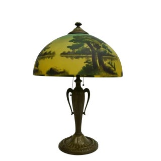 1910s Arts & Crafts Reverse Painted Table Lamp For Sale