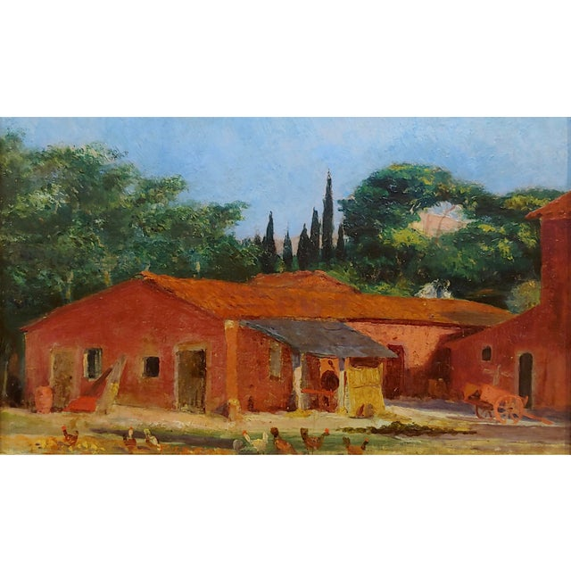 "Asian Attributed to Morris Graves ""Farmhouse With Chickens"" Oil Painting For Sale - Image 3 of 10"