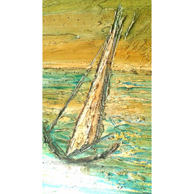 Abstract Expressionism Van Hoople Ship Boat at Sea Oil Painting Mid Century Seascape For Sale - Image 3 of 6