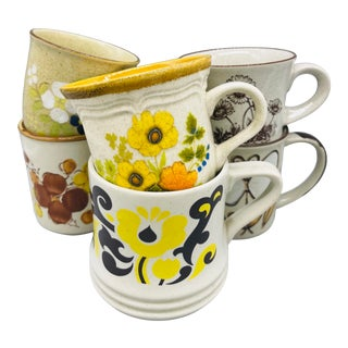 Vintage Mismatched Floral Stoneware Coffee Cups- Set of 6 For Sale