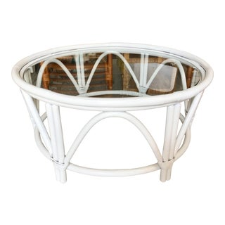Large Round Ficks Reed White Rattan Coffee Table For Sale