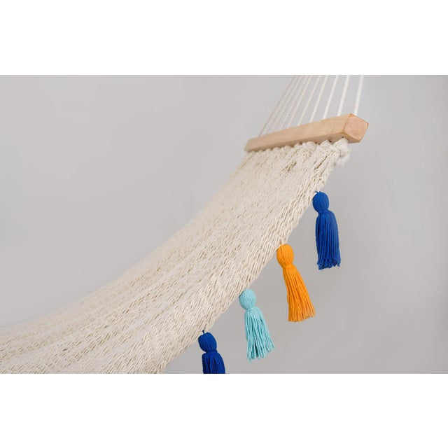 Contemporary Handmade Handmade Deluxe Natural Cotton Hammock with Hue Inspired Tassels with Wooden Bar For Sale - Image 3 of 7