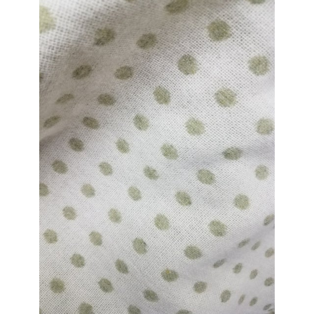 Textile Merino Wool Throw Light Green Polka Dot - Made in England For Sale - Image 7 of 8