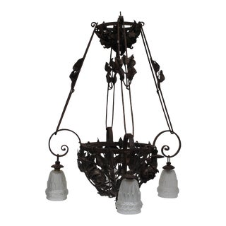 Monumental French Art Deco Designer Forged Iron Floral Form Chandelier C1920's For Sale