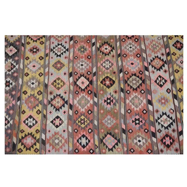 "Boho Chic Vintage Persian Kilim - 7'3"" x 12'4"" For Sale - Image 3 of 4"