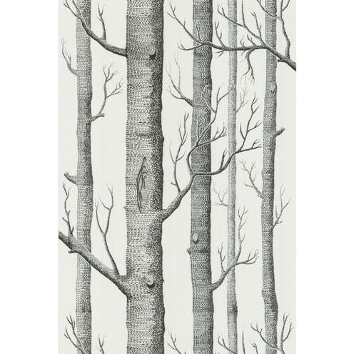 Contemporary Cole & Son Woods Wallpaper Roll - Onyx/White For Sale - Image 3 of 3