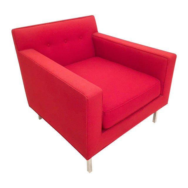 Upholstered Red Dunbar Arm Chair - Image 1 of 6
