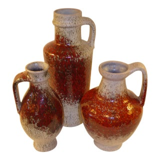 1960s Modern German Pottery Group Friedegart Glatzle Oxblood Glaze Karlsruhe - Set of 3 For Sale