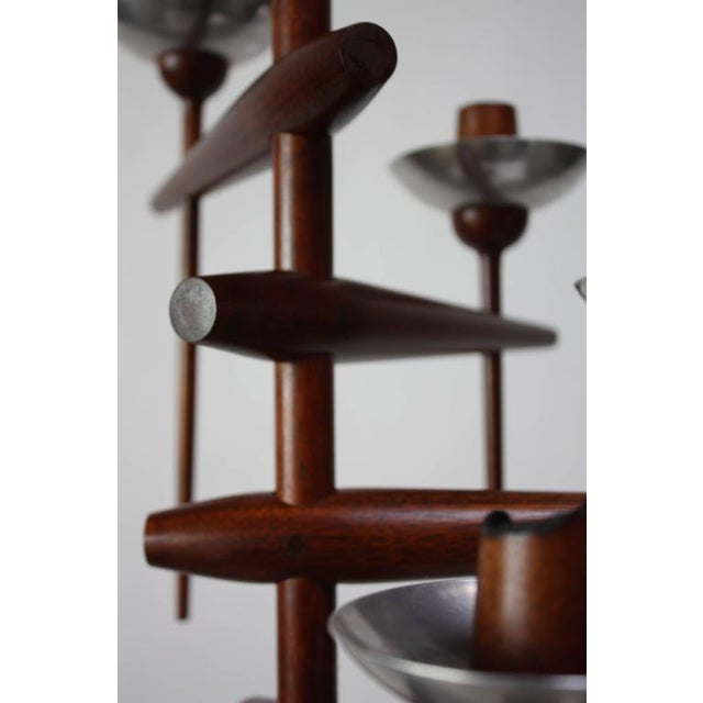 Aluminum 1960s James Martin Carved Walnut Floor Candelabrum For Sale - Image 7 of 11