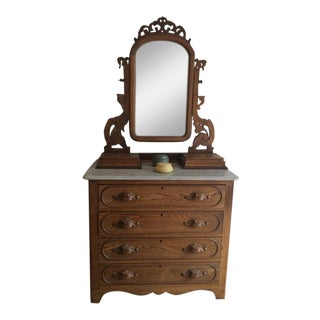 19th Century Antique Victorian Eastlake Marble Top Oak Dresser With Mirror For Sale