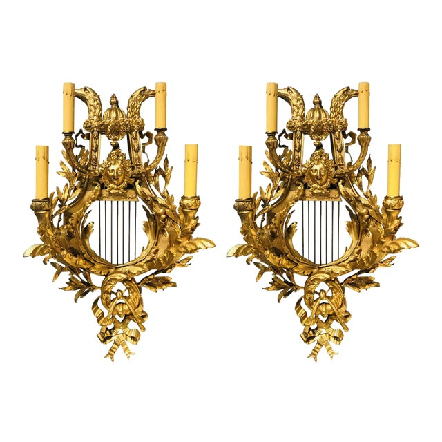 Pair of Four-Light Louis XVI Style Bird & Face Mounted Gilt Bronze Wall Sconces For Sale