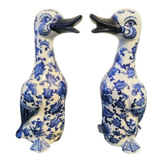 A Pair Tall Porcelain Blue White Chinoiserie Duck Statues For Sale