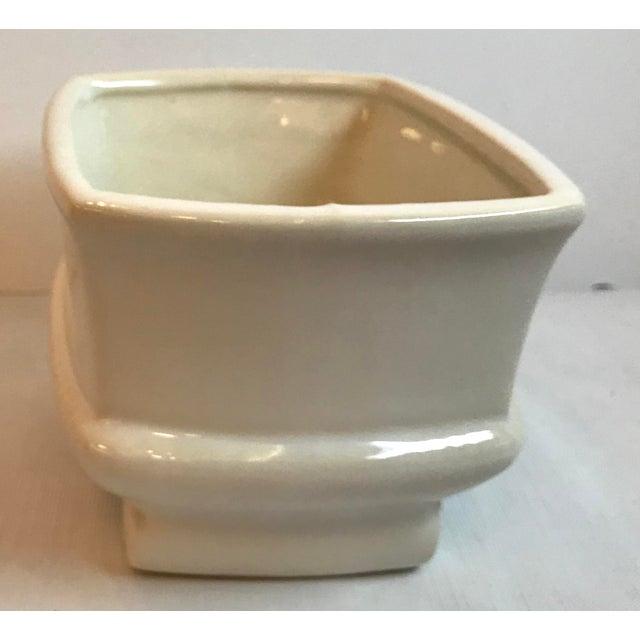 Vintage Mid Century Cream Ceramic Planter For Sale - Image 4 of 8