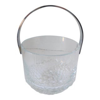 Mid-Century Crystal Ice Bucket With Silver Handle For Sale
