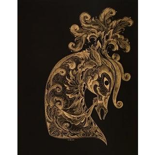 Sascha Brastoff Modernist Gold Foil Fantasy Horse Print For Sale