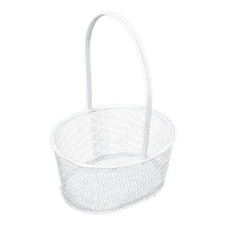 20th Century Shabby Chic White Wire Metal Flower Girl Basket