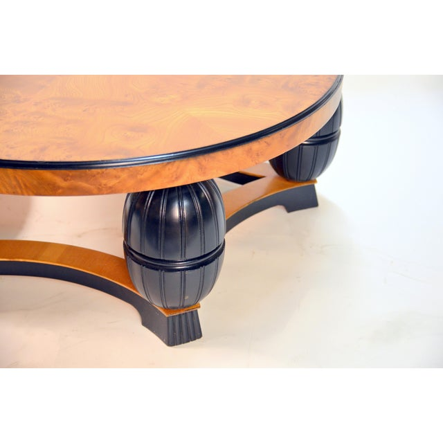 Large Swedish Art Deco Coffee Table in Carpathian Elm and Ebonized Birch For Sale In Los Angeles - Image 6 of 8