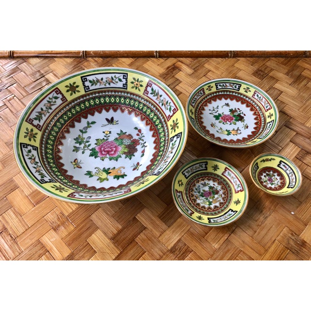 Asian Chinese Famille Jaune Yellow Painted Floral Bowls - Set of 4 For Sale - Image 3 of 10