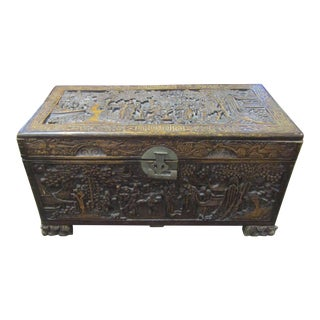 Asian Carved Wooden Trunk