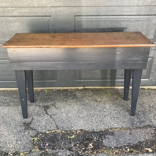 Primitive Navy & Butcher Block Top Console / Island For Sale - Image 9 of 10