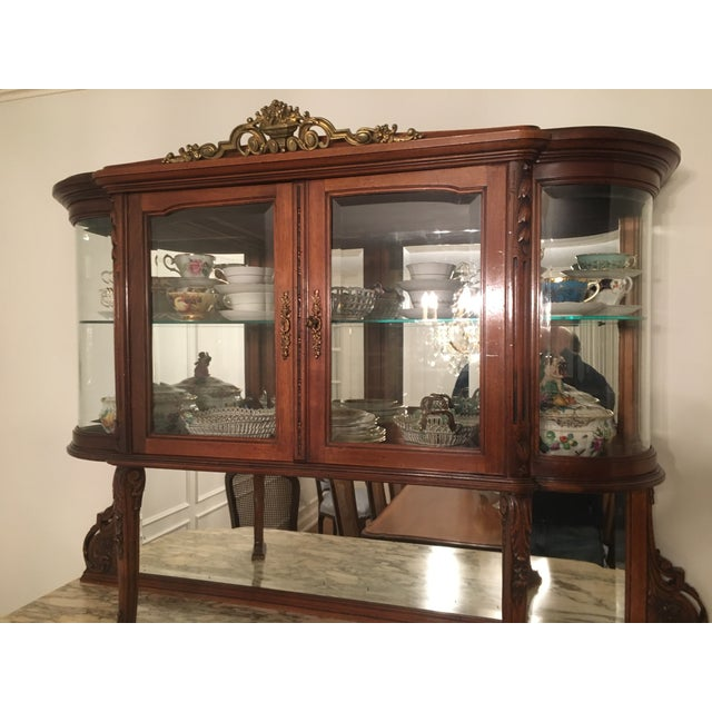1930s Belle Epoque Hutch Server With Round Glass Sides For Sale - Image 4 of 6
