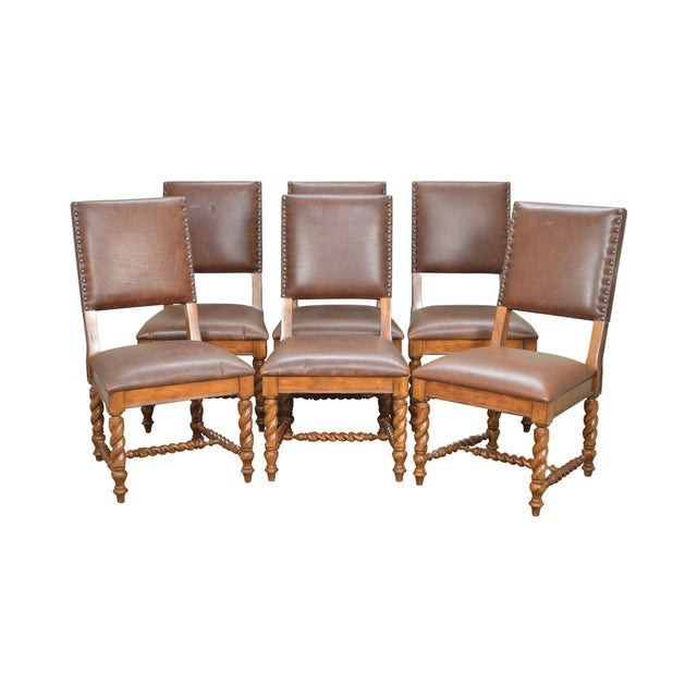 Stanley Barley Twist Brown Leather Dining Chairs - Set of 6 For Sale - Image 13 of 13