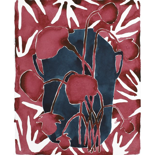 """Abstract """"Urn Two"""" Ink & Gouache Painting For Sale - Image 3 of 3"""