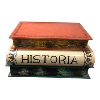 20th Century Italian Tole Stacked Book Form With Flip Top For Sale