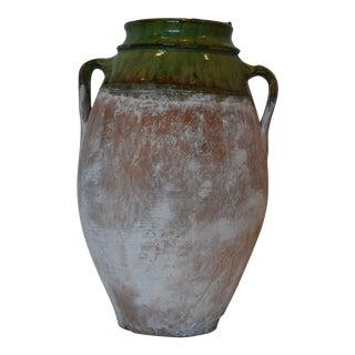 White Washed Vintage Terra-Cotta Pot For Sale