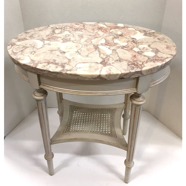French Marble Top Side Table - Image 2 of 10