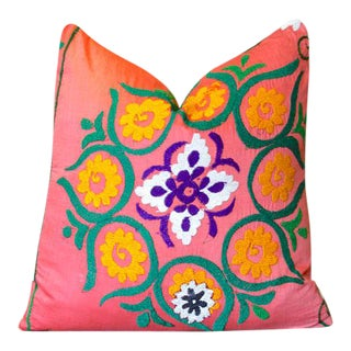 Gulshan Suzani Throw Pillow For Sale