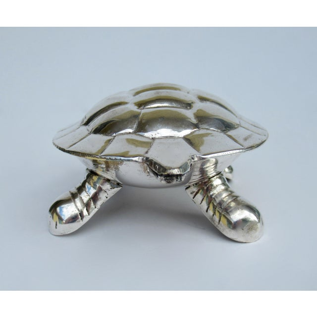 Vintage Silver Plate Lidded Turtle Keepsake Box For Sale In West Palm - Image 6 of 13