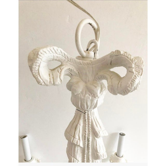 1950s Vintage Dorothy Draper Style Draped White Chandelier For Sale - Image 5 of 13