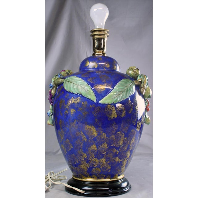 Ceramic Italian Majolica Table Lamp Hand-Painted Blue For Sale - Image 7 of 8