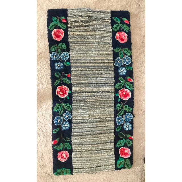 Blue Early 20th Century Antique Hooked Rug - 4′3″ × 1′10″ For Sale - Image 8 of 8