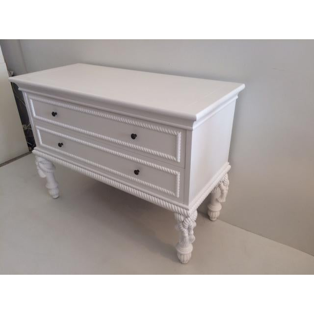 1960s Hollywood Regency White Commode With Tassel Legs For Sale - Image 12 of 13