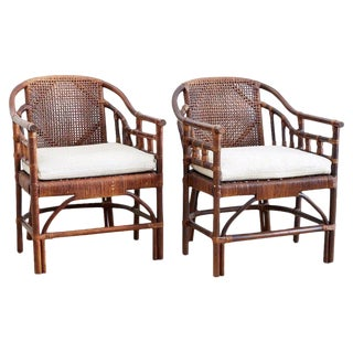 McGuire Style Bamboo Barrel Back Lounge Chairs For Sale