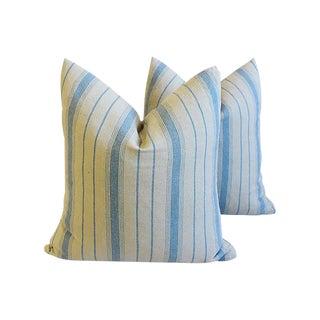 New England Nautical Blue & Tan Striped Feather/Down Pillows - Pair