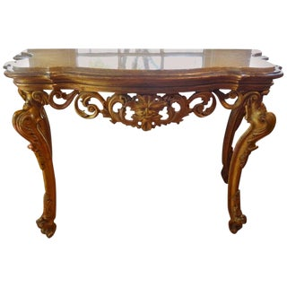 18th Century Venetian Louis XIV Gilt Wood With Marble Top Console Table For Sale