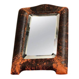 Art Deco Leather Wrapped Table Mirror For Sale