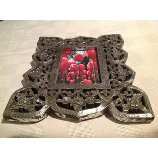 Antique Silver Leaf Wood Carved Picture Frame With Glass Preview