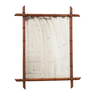 English 19th Century Faux Bamboo Pine Mirror For Sale
