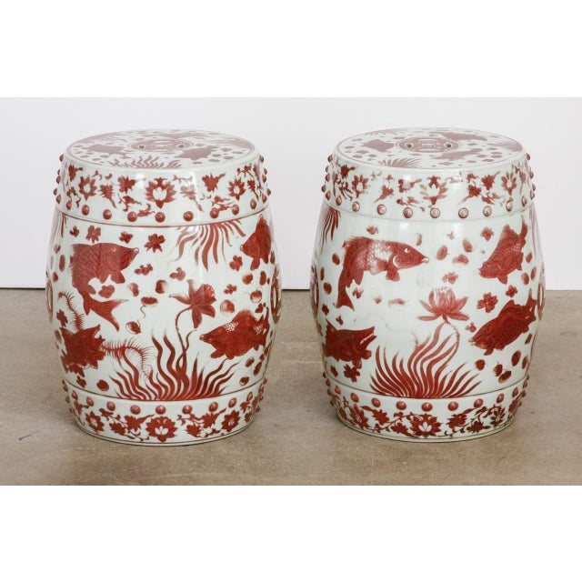 Chinese Ceramic Aquatic Life Garden Stools or Drink Tables - a Pair For Sale - Image 12 of 13
