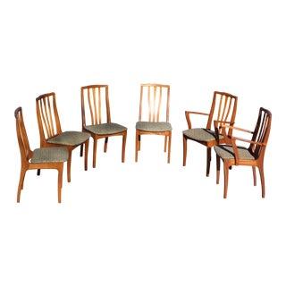 Vintage Set of Six Mid Century Danish Modern Teak Dining Chairs Denmark For Sale