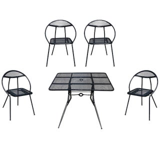 Salterini Mid-Century Modern Steel Outdoor or Patio Dining Set with Four Chairs For Sale