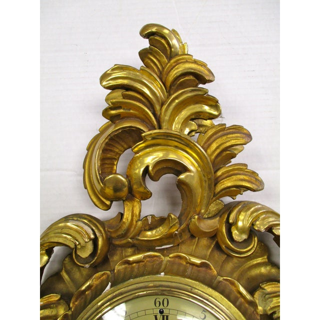 Antique Swedish Gold Gilt Wall Clock For Sale - Image 4 of 5
