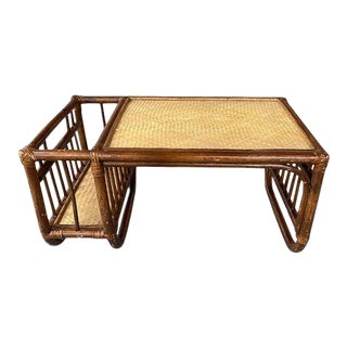 English Rattan and Bamboo Breakfast Bed Tray With Magazine Rack For Sale